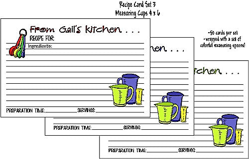 Recipe Cards Measuring Set 4x6 Customized by Fun with Pads