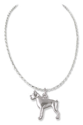 Boston Terrier Sterling Silver Necklace