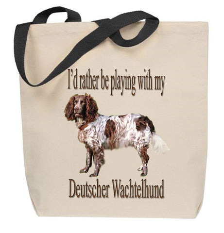 I'd Rather Be Playing With My Deutscher Wachtelhund Tote Bag