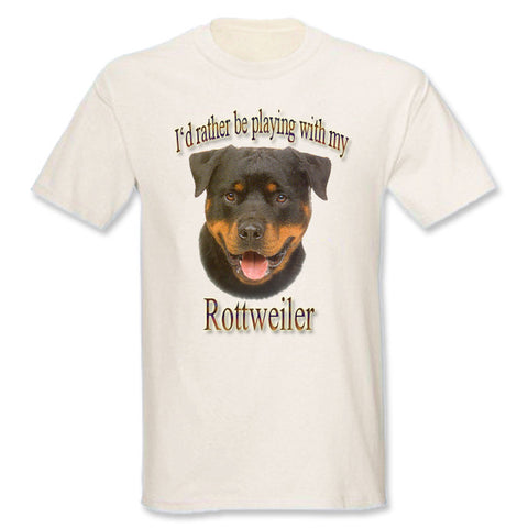 Natural I'd Rather Be Playing With My Rottweiler T-Shirt