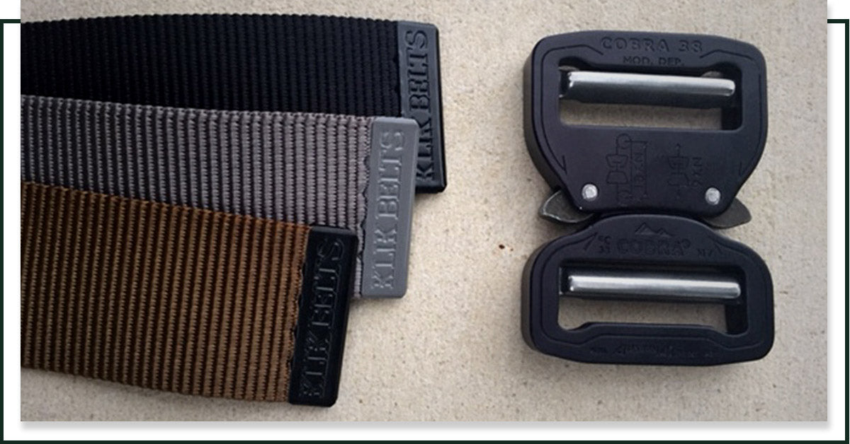 Image of tactical belts in different colors from Klik Belts