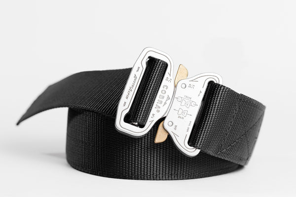 "1.75"" wide Klik Belt with polished aluminum belt buckle"