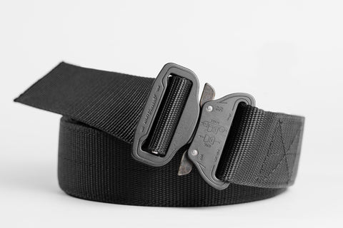 "matte black 1.75"" wide Klik Belt for gun holsters"