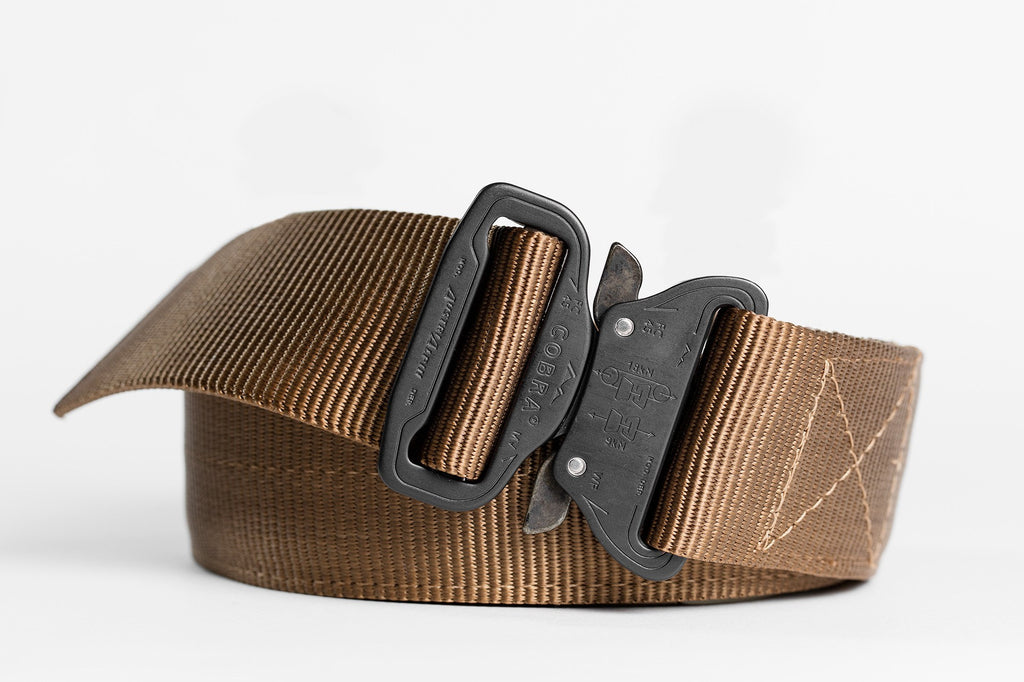 "coyote colored 1.75"" wide Klik Belt with matte black buckle"