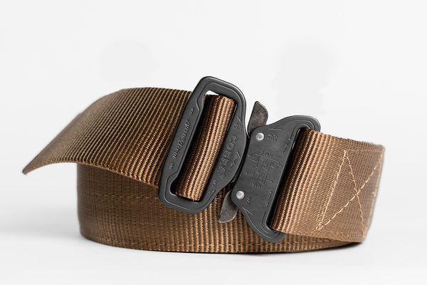 "1.75"" Wide Duty Belt Matte Black on Coyote"