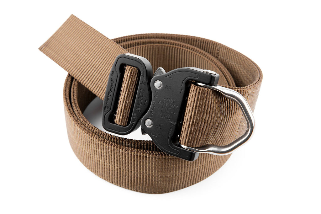 "1.5"" wide 2-ply brown belt with attached D-ring"