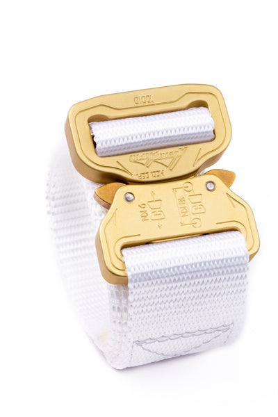 limited edition white Klik Belt with brushed gold buckle