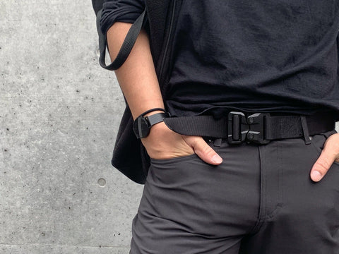 Klik Belts' airport friendly men's black belts