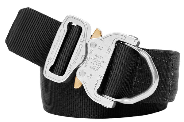 "1.75"" Wide Duty Belt D-Ring Polished Aluminum / Black"