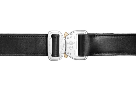 "1.5"" Polished Aluminum / Black Leather Gun Belt"