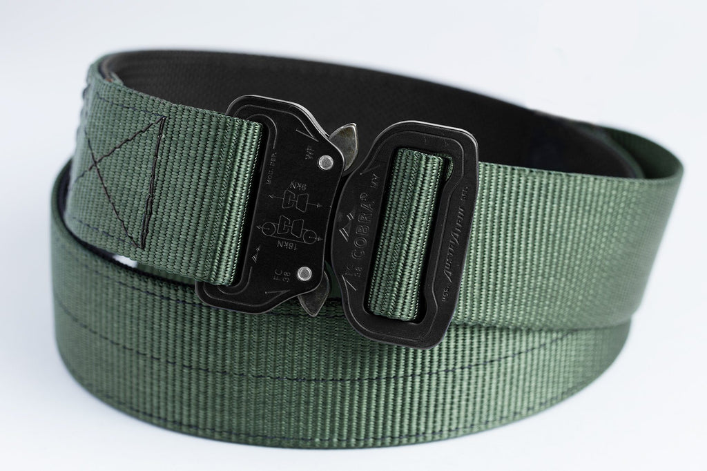 Forest green 2-ply clickable belt with COBRA® buckle