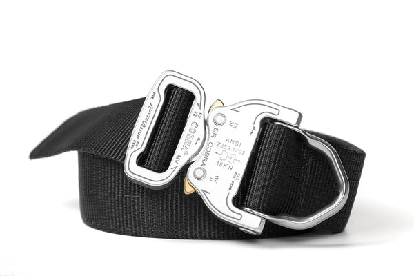strong 2-ply black belt for gun holsters with attached d-ring