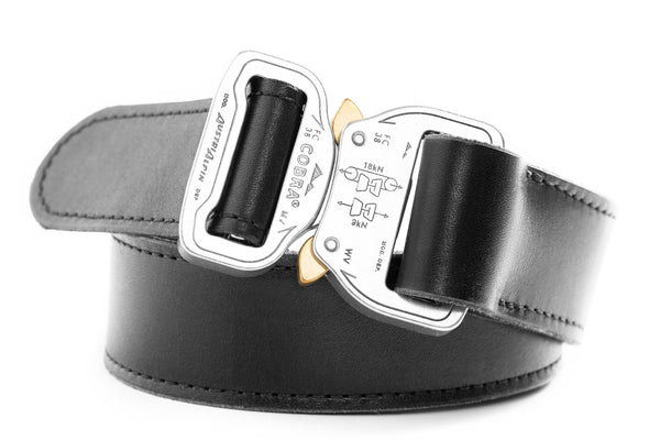 black leather gun belt with polished aluminum clickable buckle