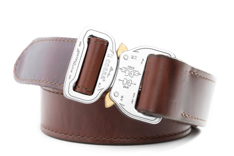 "1.5"" wide burgundy leather gun belt with polished aluminum buckle"