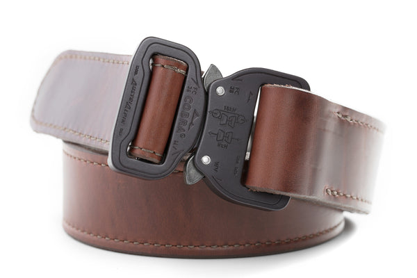 "1.5"" wide burgundy leather gun belt with matte black buckle"