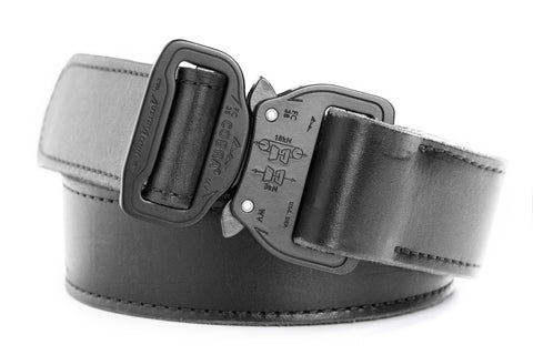matte black leather belt for gun holsters