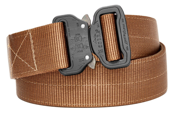 strong 2-ply Klik Belt with coyote gold colors and matte black buckle