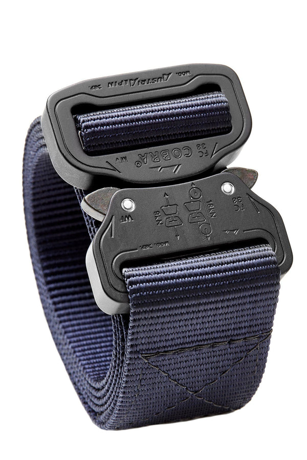 Navy blue mil spec webbing belt with matte black buckle