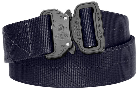 durable 2-ply belt in navy blue with matte black buckle