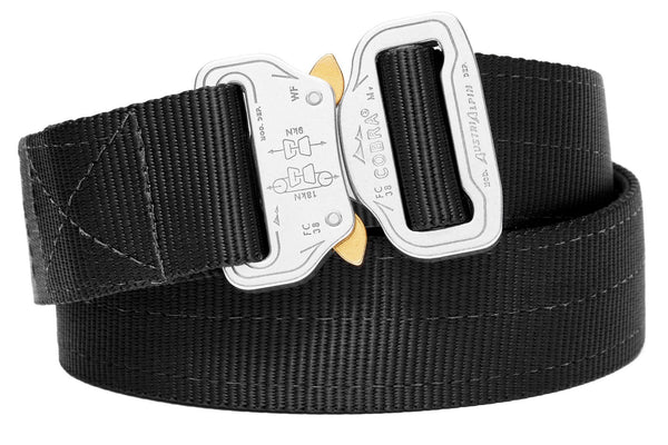 reinforced 2-ply belt in black with polished aluminum clickable buckle
