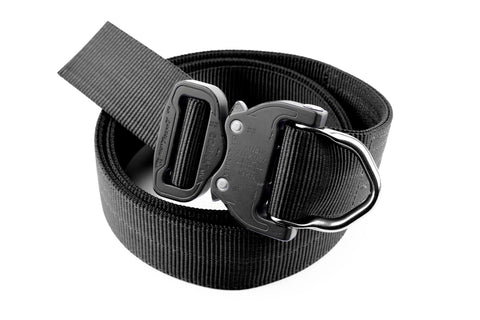 matte black 2-ply Klik Belt with attached D-ring