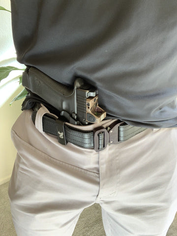 "1.5"" Matte Black Leather Gun Belt"