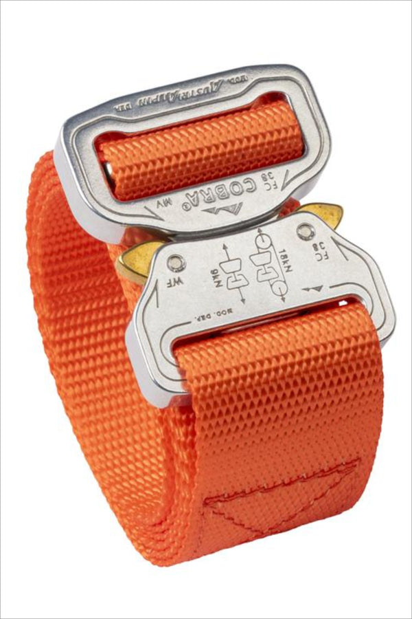 "1.5"" wide clickable belt in hunter orange color"