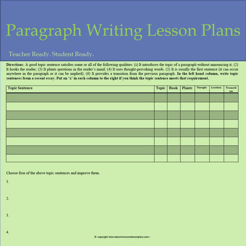 Paragraph Writing Lesson Plans  Trent Media