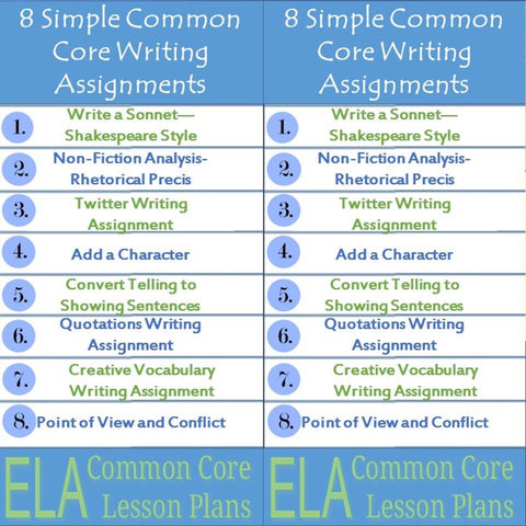 8 Simple Common Core Writing Assignments