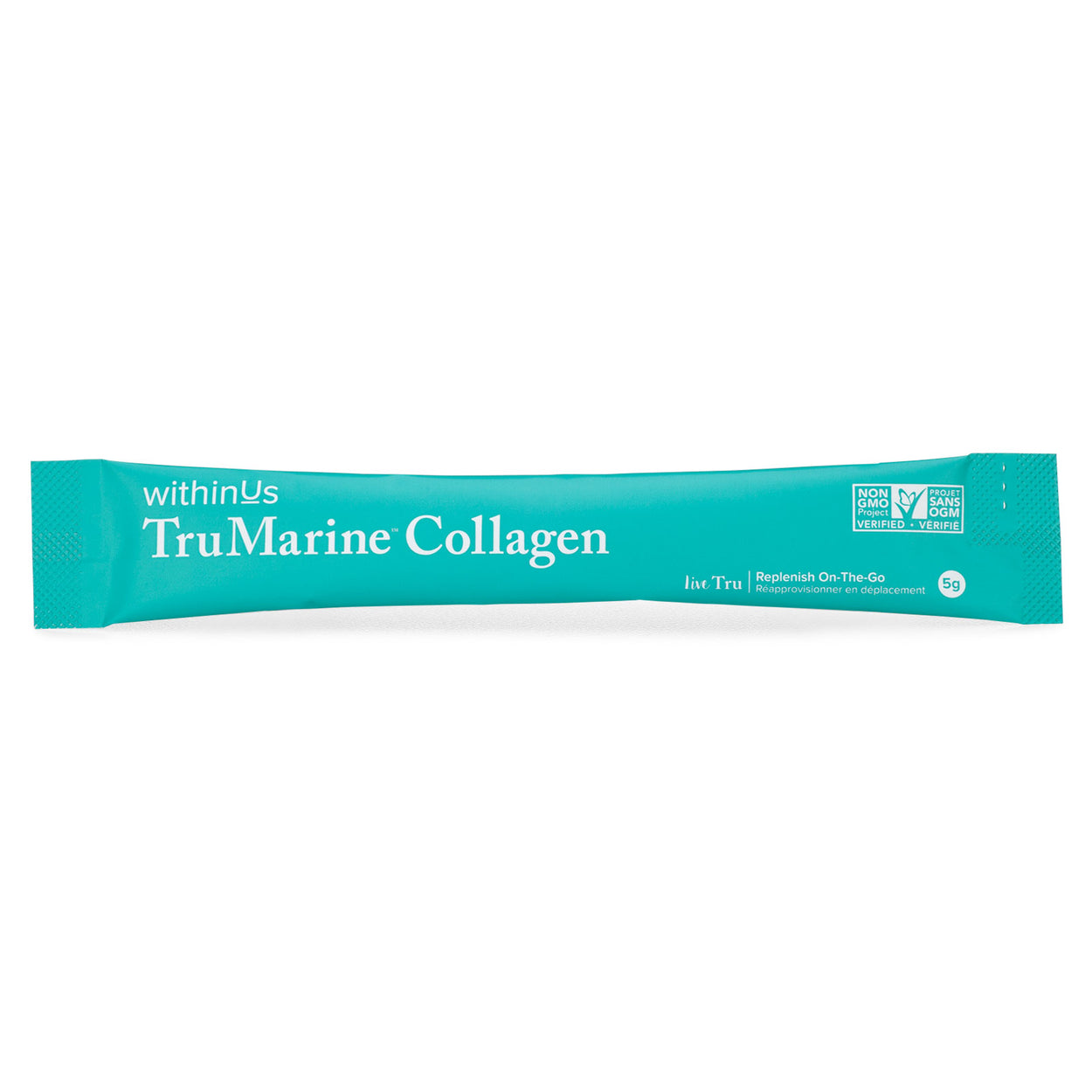 Photo showing a 5g stick pack of withinUs TruMarine Collagen