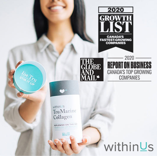 Woman holding TruMarine Collagen and smiling with two banners reading Growth five hundred 2019 Award and The Globe And Mail Canada's Top Growing Companies award.