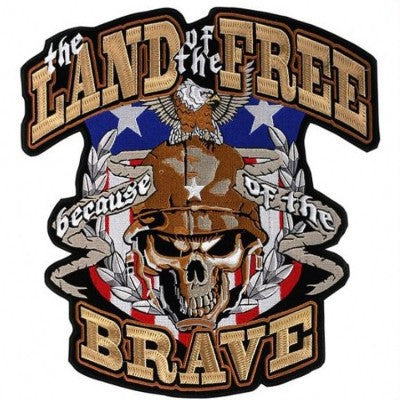 Land of the Free, Large Embroidered Motorcycle Jacket Patch