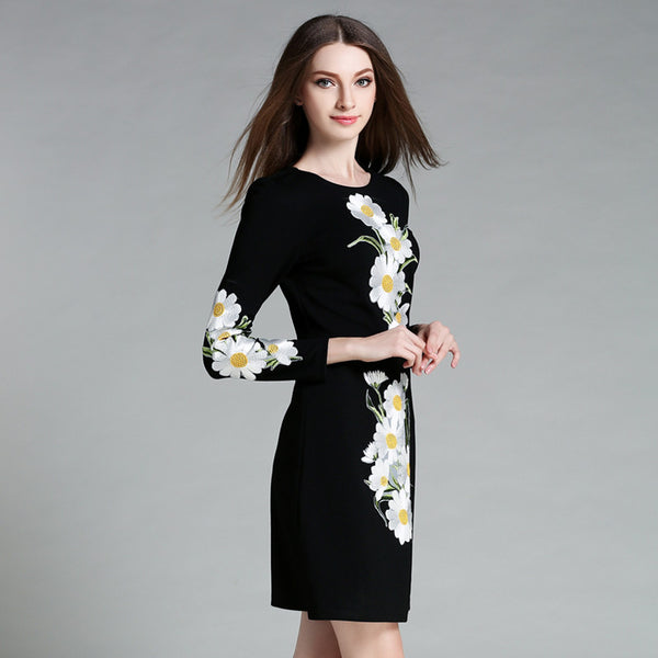 Fashion Statement Mini Dress with Embroidered Flowers Motif