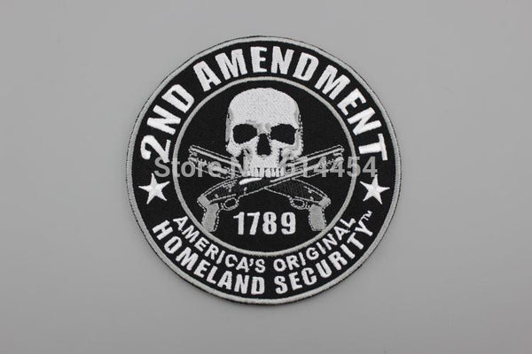 2ND AMENDMENT Skull Double Guns Embroidered Patch for Motorcycle Jacket