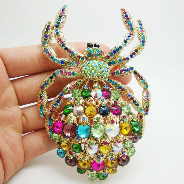 Brooch, Turquoise Spider in Luxurious Rhinestone Crystal Colors - Free Shipping