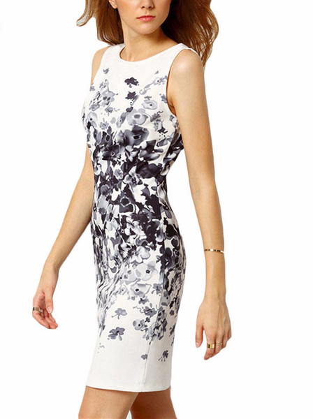 Abstract Floral Pencil Sleeveless Mini Dress