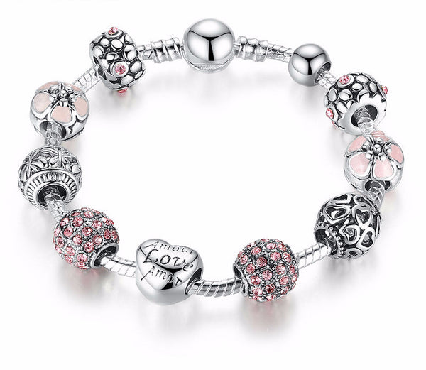Charm Bracelet with Love and Flower Crystal Beads, Buy 1, Get 2  MORE FREE !