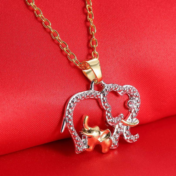 Elephant & Baby, Gold & Silver Plated Crystal Mothers' Day Gift - Buy1, Get 2 MORE FREE !