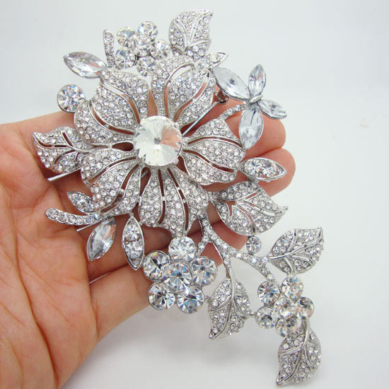 Brooch, Flowers & Leaves in Clear Rhinestone Crystal for Special Occasions - Free Shipping
