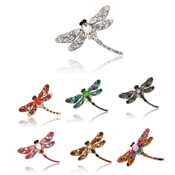 Brooch / Scarf Pin, Dragonfly in Luxurious Rhinestone Crystal Colors - Free Shipping