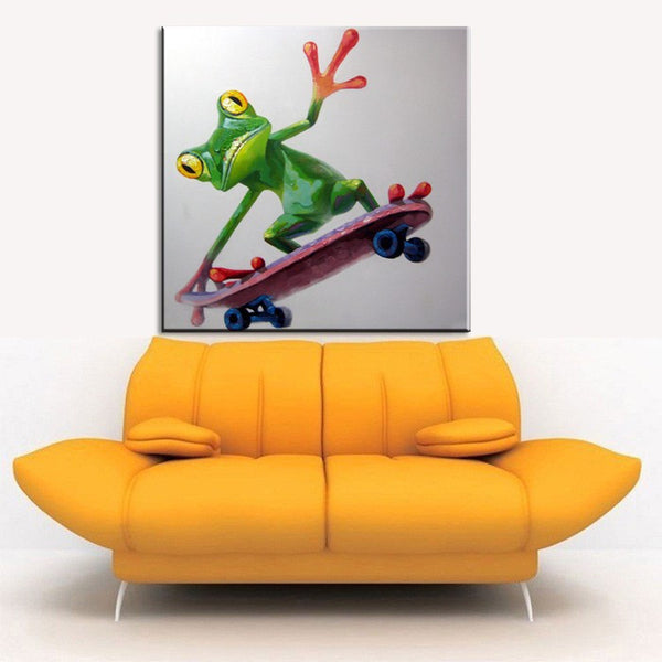 Frog Skateboarder Wall Oil Painting on Canvas (frame not included) - Free Shipping