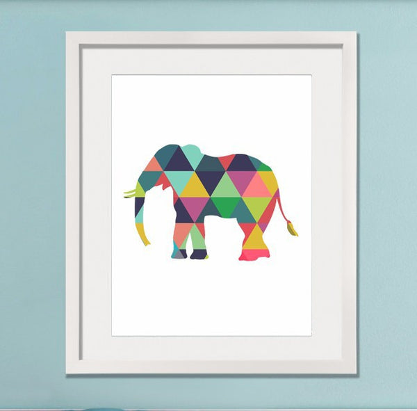Geometric Elephant Canvas Art Print Poster (frame not included) - Free Shipping