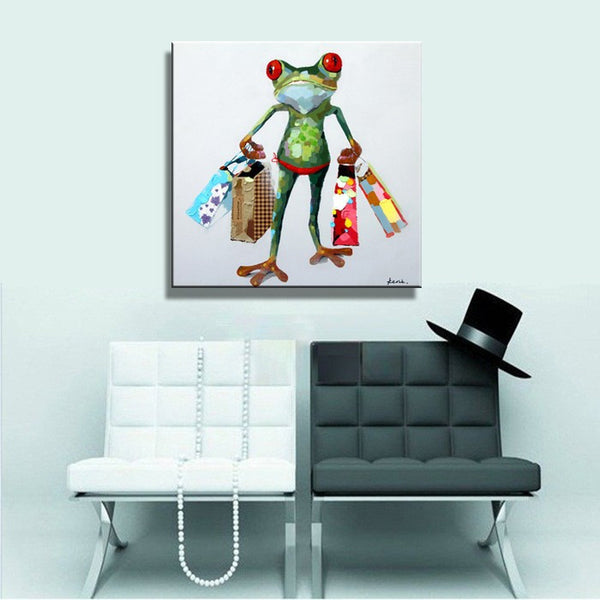 Frog Shopaholic Wall Oil Painting on Canvas Art Print Poster (frame not included) - Free Shipping