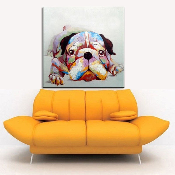 Bulldog Abstract Animal Wall Cartoon Oil Painting on Canvas Art Print Poster