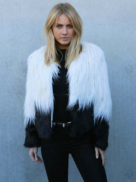 Jacket, Shaggy, Collarless, Faux Fur in Black & White - Free Shipping