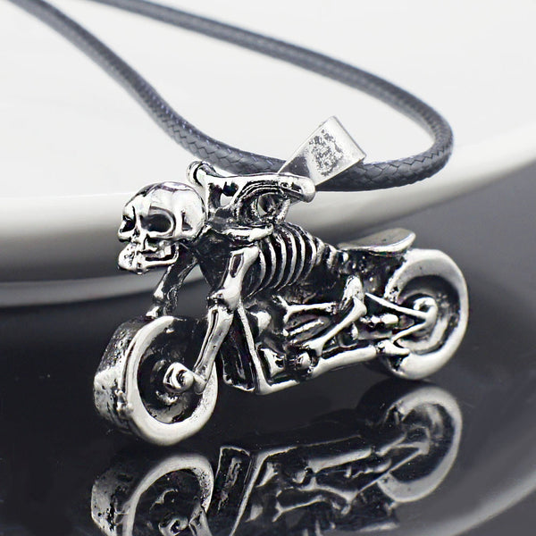 Skeleton Motorcycle Rider, Necklace + Pendant