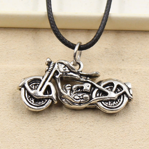 Motorcycle, Leather Necklace + Pendant