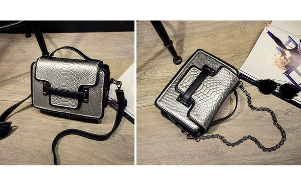 Shoulder and Handbag 'Crocodile Effect' in Assorted Solid Colors - Free Shipping