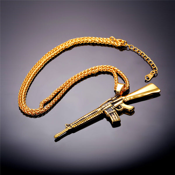 Machine Gun Necklace + Pendant, 18K Gold Plated Stainless Steel