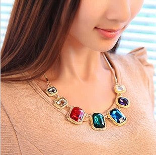 Necklace, Large Gems with Chain Costume Jewelry - Free Shipping